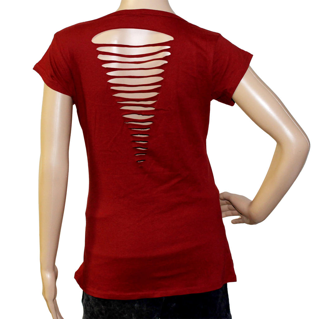 W:O:A - Girlie Top - Skulls cutted back - red -