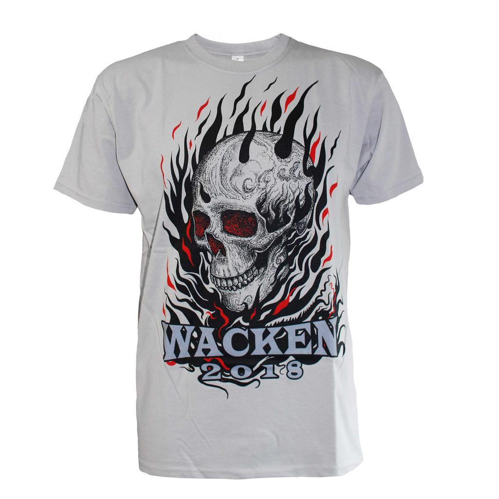 W:O:A - T-Shirt - Skull & Fire 2018 - grey -